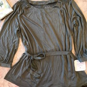 NWT Isabel Maternity Olive Green Blouse with Belt